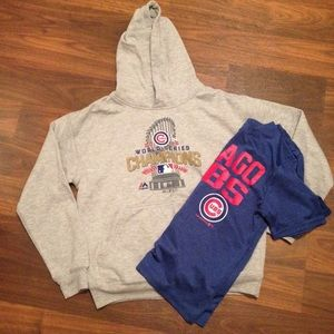 Other - SET- Chicago Cubs hoodie & tshirt set- youth Med